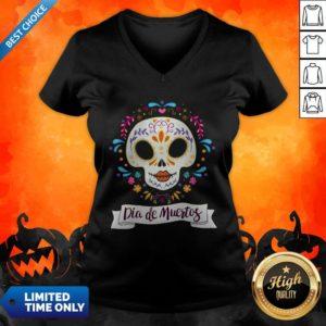 Dia De Muertos Day Of The Dead Sugar Skull V-neck