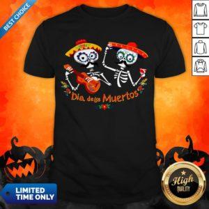 Dia De Muertos Happy In Mexican Skeletons Guitar Shirt