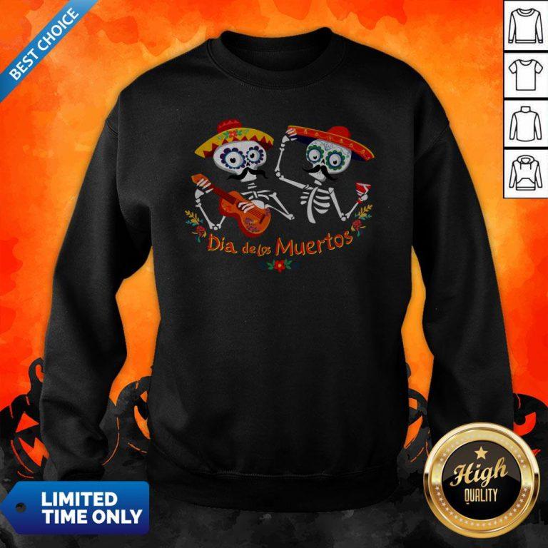 Dia De Muertos Happy In Mexican Skeletons Guitar Sweatshirt
