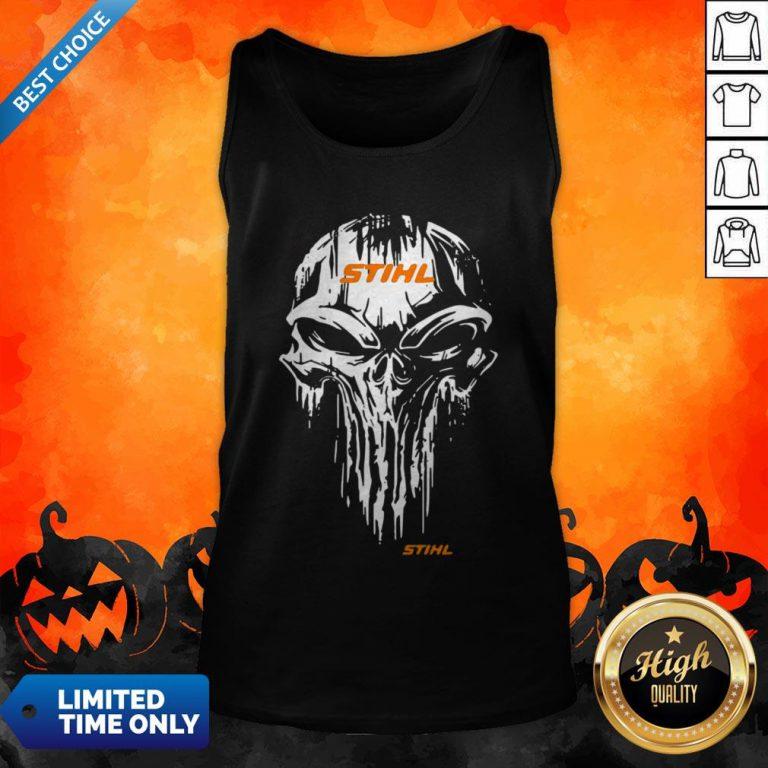 Funny Skull Stihl Logo Halloween Tank Top