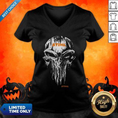 Funny Skull Stihl Logo Halloween V-neck