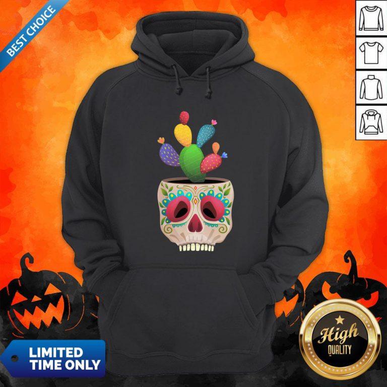 Funny Sugar Skull Cactus Day Of Dead Dia De Muertos Hoodie
