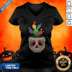 Funny Sugar Skull Cactus Day Of Dead Dia De Muertos V-neck