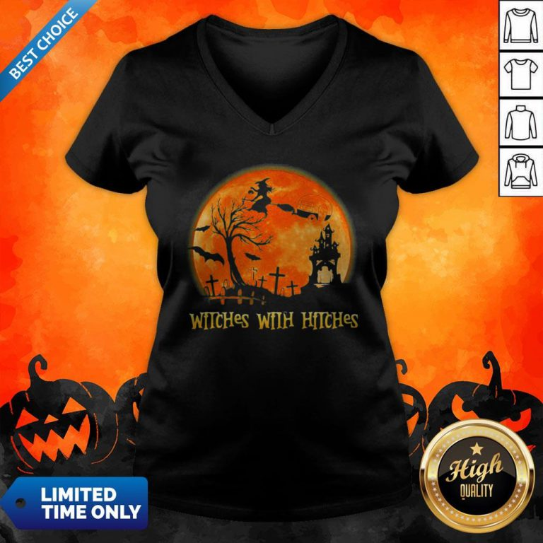 Good Witches With Hitches Sunset Halloween V-neck