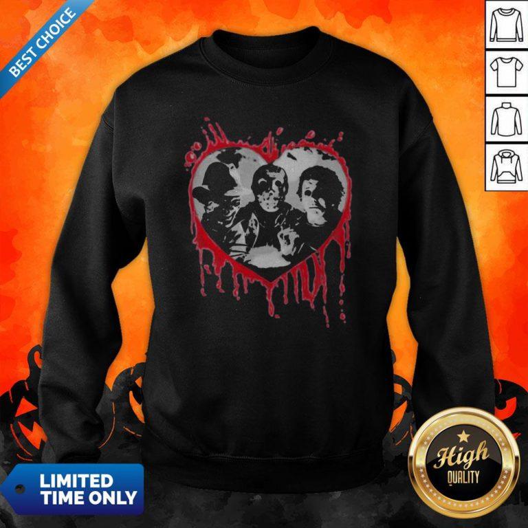 Halloween Freddy Krueger Jason Voorhees And Michael Myers Heart Sweatshirt