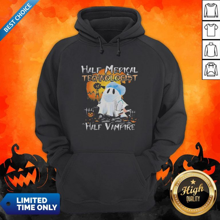 Halloween Ghost Half Medical Technologist Half Vampire Hoodie