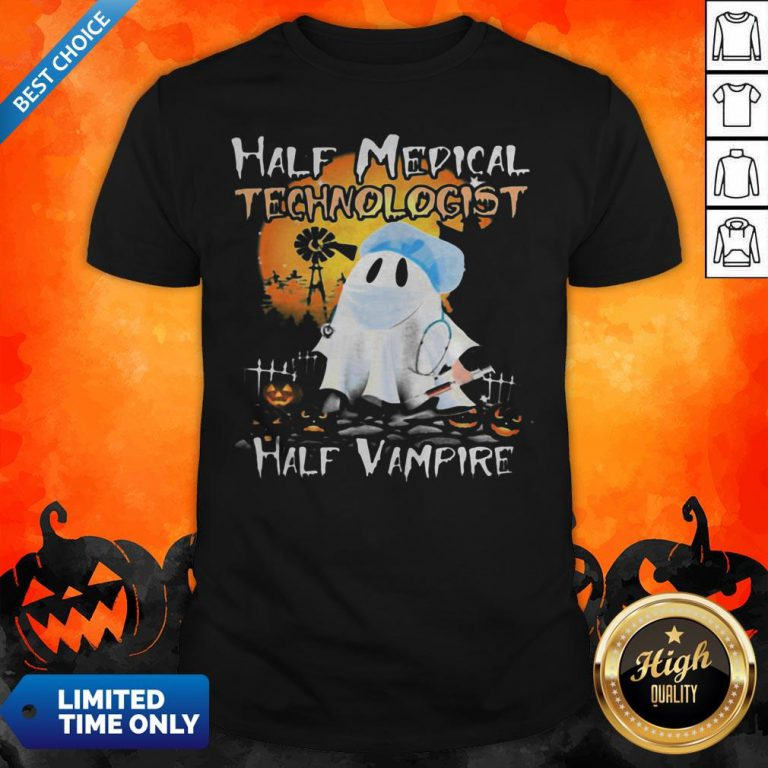 Halloween Ghost Half Medical Technologist Half Vampire Shirt