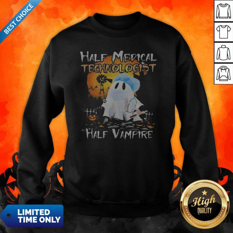 Halloween Ghost Half Medical Technologist Half Vampire Sweatshirt