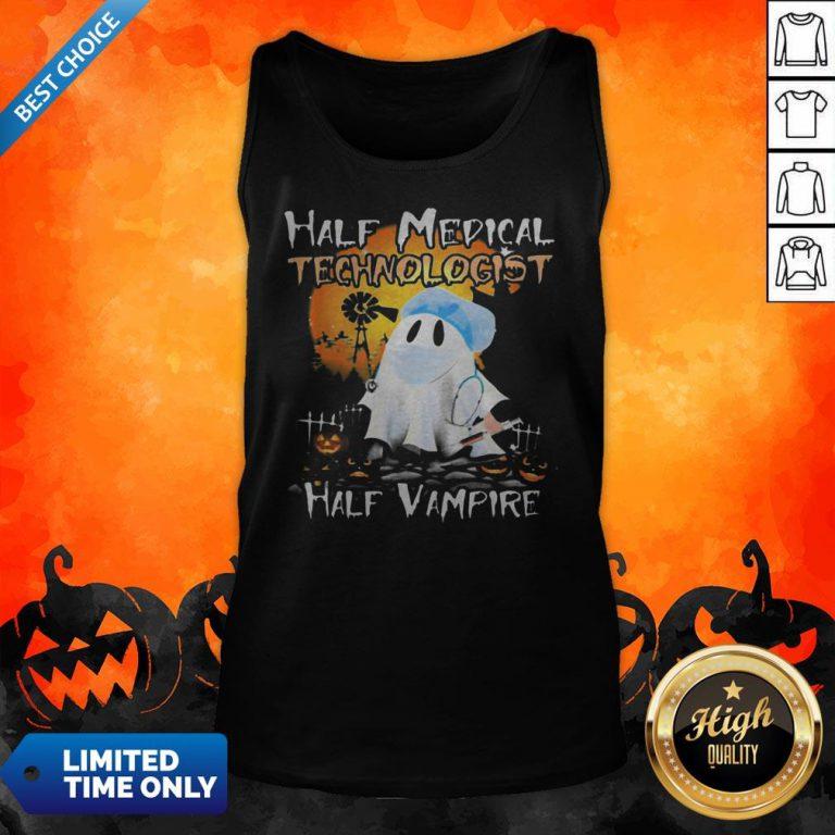 Halloween Ghost Half Medical Technologist Half Vampire Tank Top