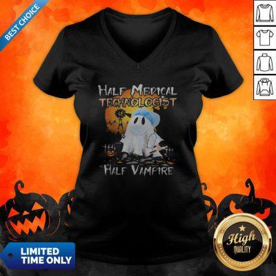 Halloween Ghost Half Medical Technologist Half Vampire V-neck