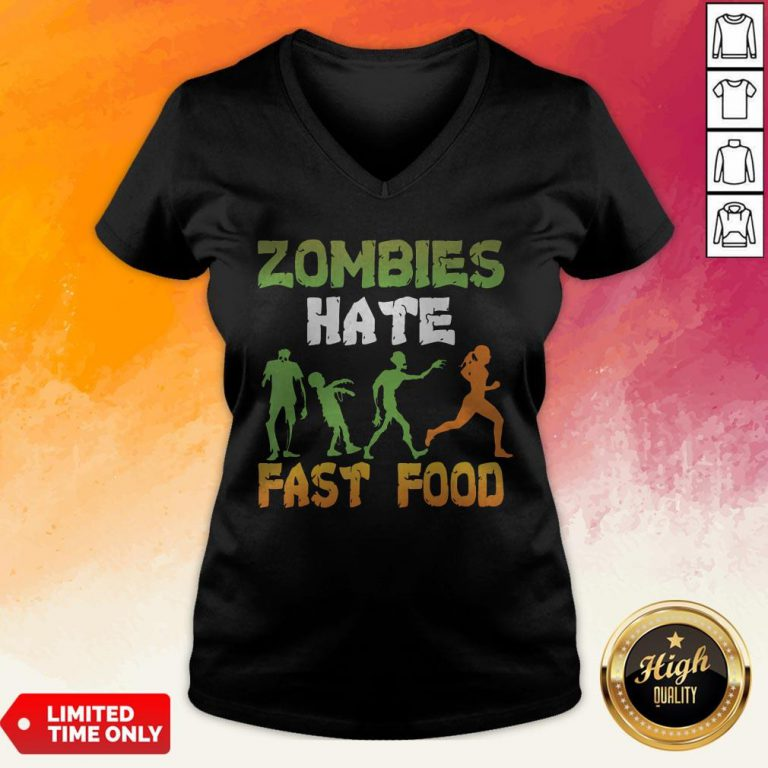 Halloween Zombies Hate Fast Food V-neck