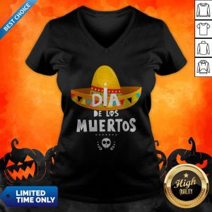 Happy Dia De Los Muertos Skull Day Dead V-neck