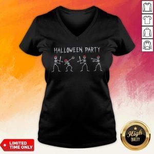 Hot Skeleton Halloween Party V-neck