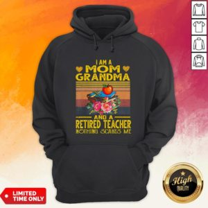 I Am A Mom Grandma And A Retired Teacher Nothing Scares Me Vintage Retro Hoodie