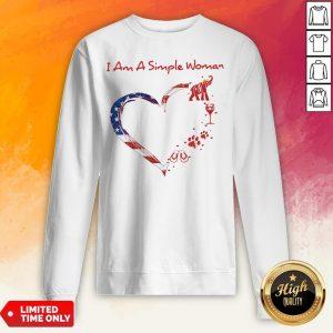 I Am A Simple Woman Elephant Trump Wine Paw And Flip Heart America Sweatshirt