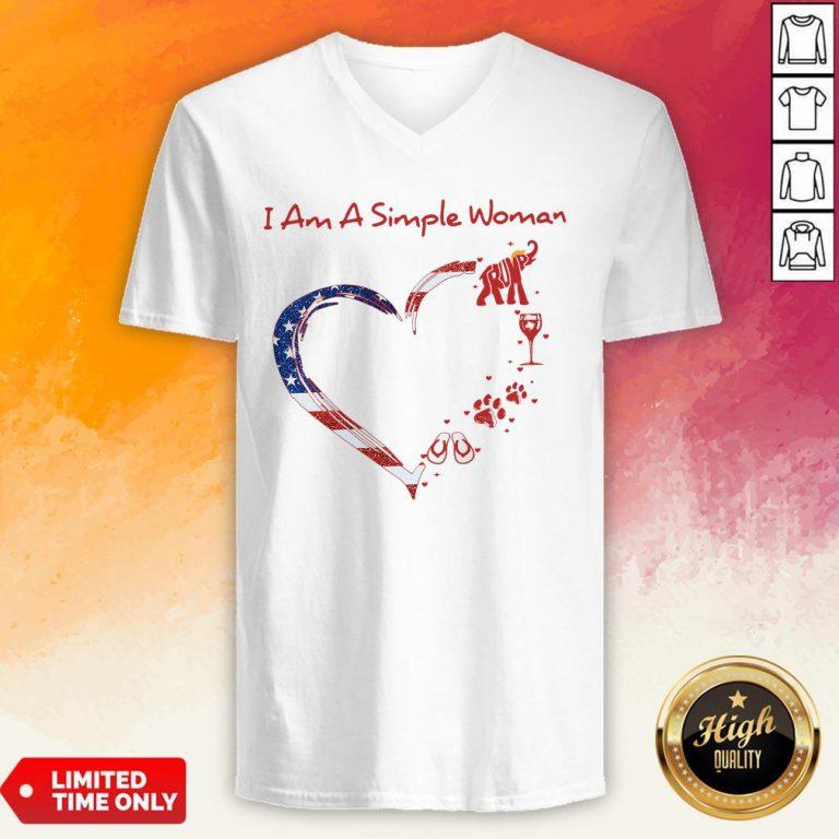 I Am A Simple Woman Elephant Trump Wine Paw And Flip Heart America V-neck