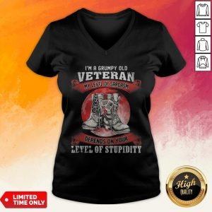 I'm A Grumpy Old Veteran My Level Of Sarcasm Depends On Your Level Of Stupidity Sunset V-neck