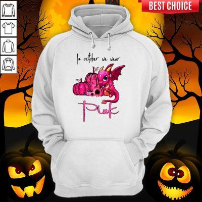 In October We Wear Pink Pumpkin Dragon Halloween Hoodie