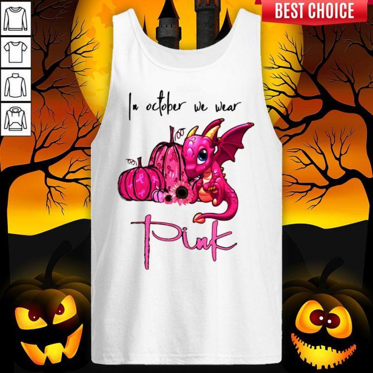 In October We Wear Pink Pumpkin Dragon Halloween Tank Top