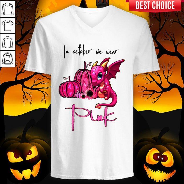 In October We Wear Pink Pumpkin Dragon Halloween V-neck