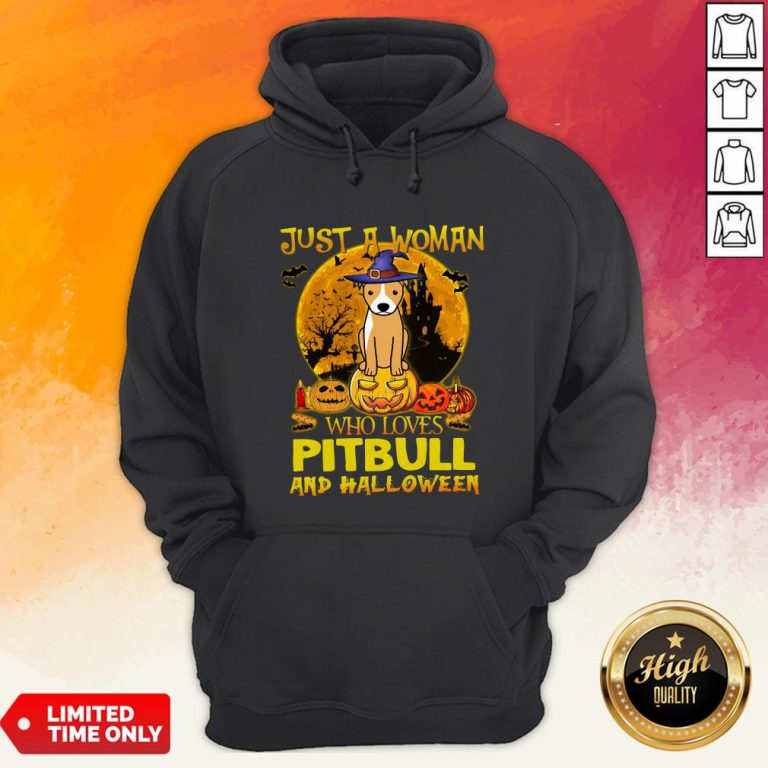 Just A Woman Who Loves Pitbull And Halloween Hoodie