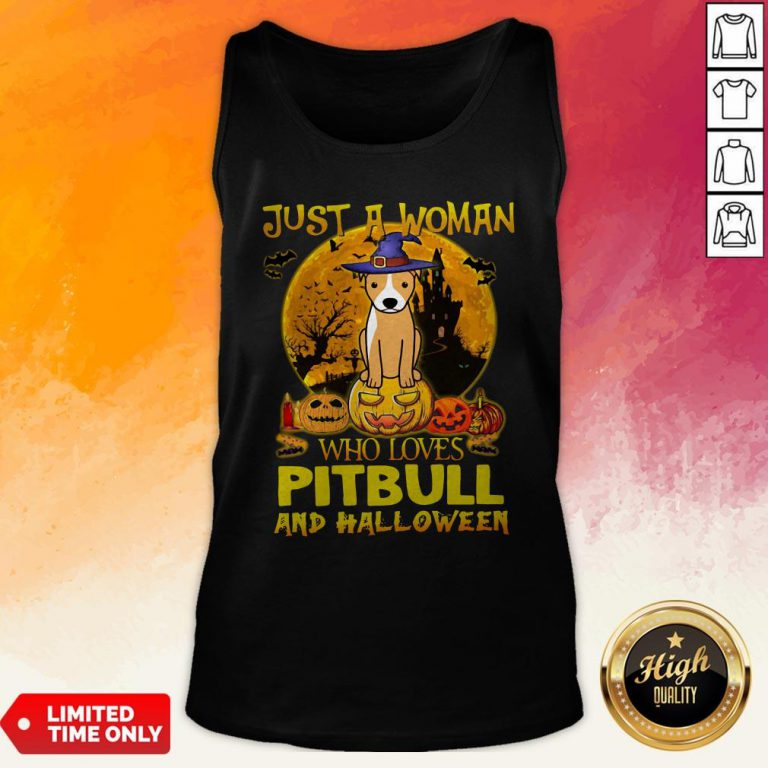 Just A Woman Who Loves Pitbull And Halloween Tank Top
