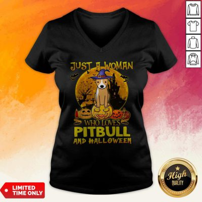 Just A Woman Who Loves Pitbull And Halloween V-neck