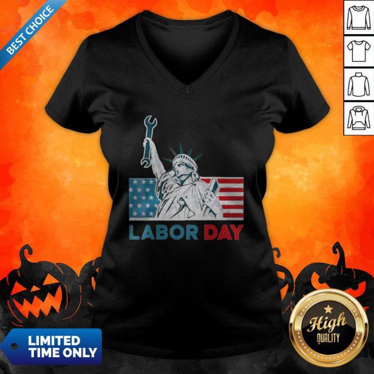 Labor Day American Flag Statue Of Liberty Labor Day V-neck