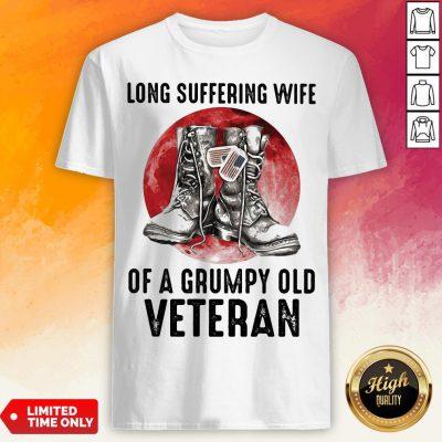 Long Suffering Wife Of A Grumpy Old Veteran Boots Blood Moon Shirt