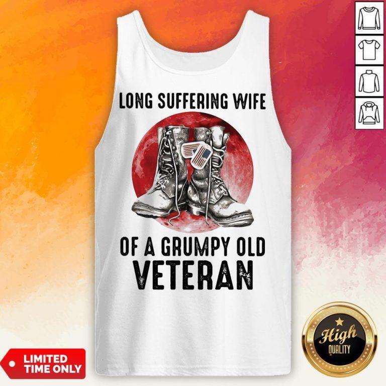 Long Suffering Wife Of A Grumpy Old Veteran Boots Blood Moon Tank Top