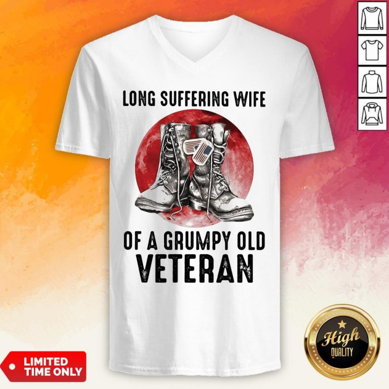 Long Suffering Wife Of A Grumpy Old Veteran Boots Blood Moon V-neck