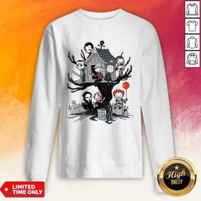 Maniac Park Horror Character Theme Park Tree Halloween Sweatshirt