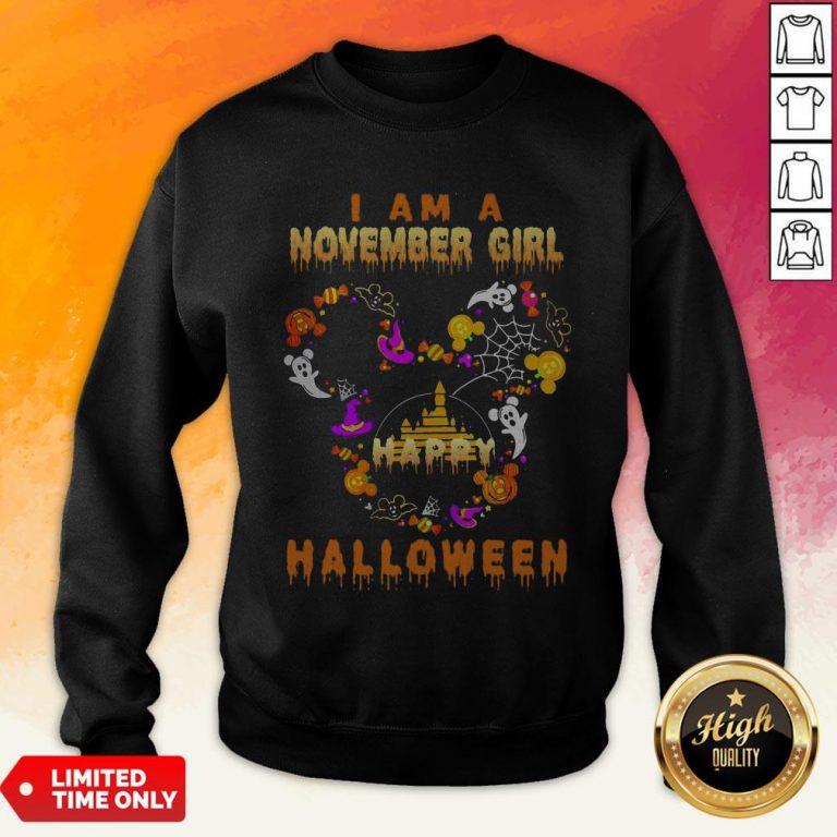Mickey Mouse Disney I Am A November Girl Happy Halloween 2020 Sweatshirt