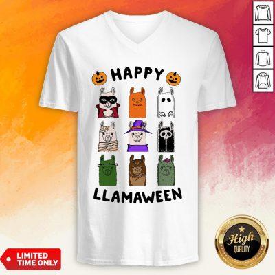 Nice Happy Llamaween Camel Halloween V-neck