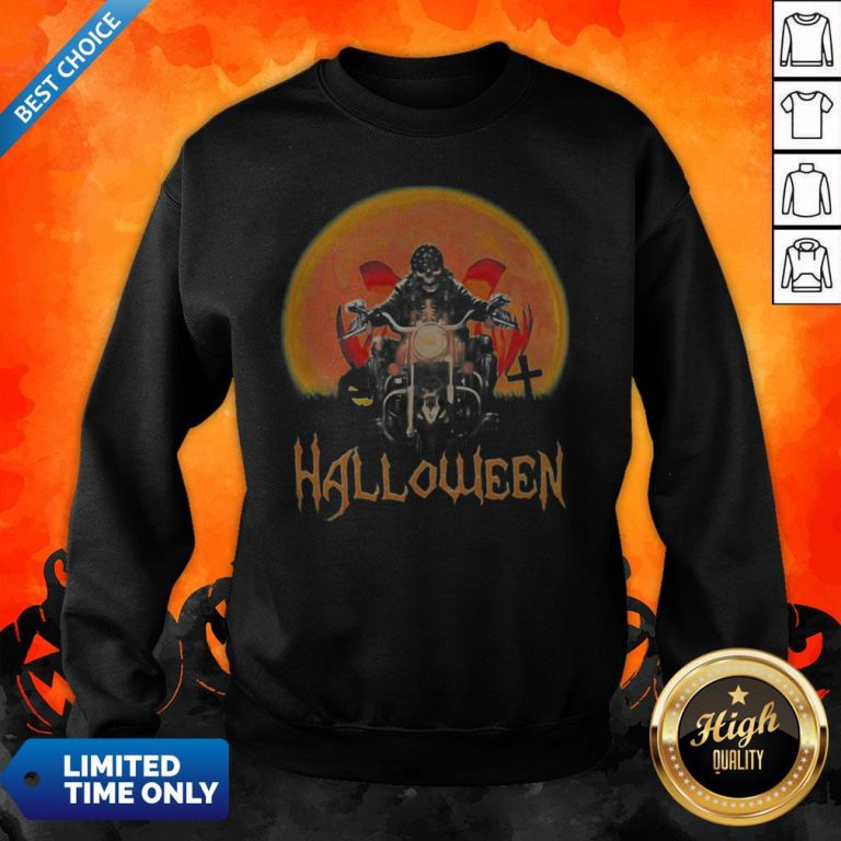 Original Skeleton Biker Halloween Sweatshirt