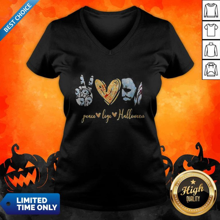 Peace Love Halloween Michael Myers V-neck