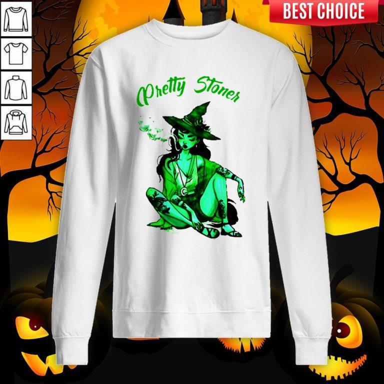 Pretty Stoner Witch Weed Halloween Sweatshirt