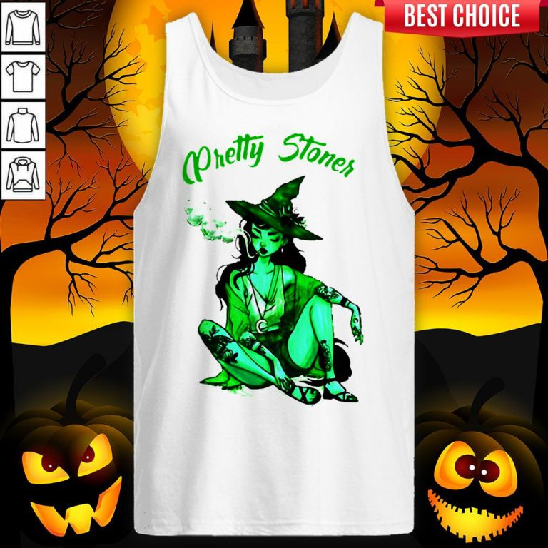 Pretty Stoner Witch Weed Halloween Tank Top