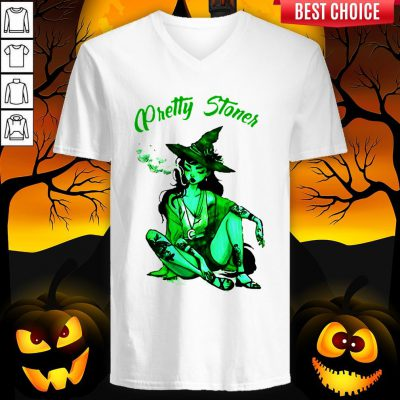 Pretty Stoner Witch Weed Halloween V-neck