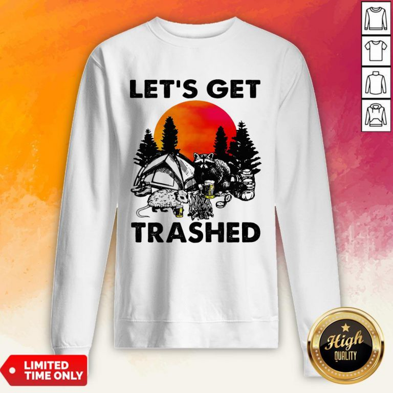 Raccoon Let'S Get Trashed Sunset Sweatshirt