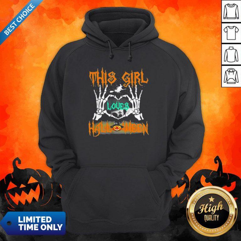 Skeleton This Girl Loves Halloween Heart Hoodie