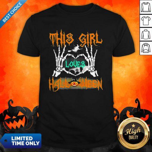 Skeleton This Girl Loves Halloween Heart Shirt