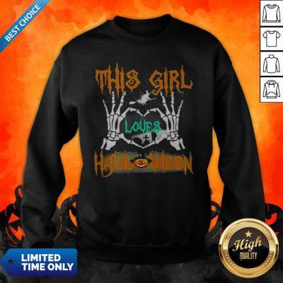 Skeleton This Girl Loves Halloween Heart Sweatshirt