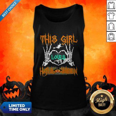 Skeleton This Girl Loves Halloween Heart Tank Top