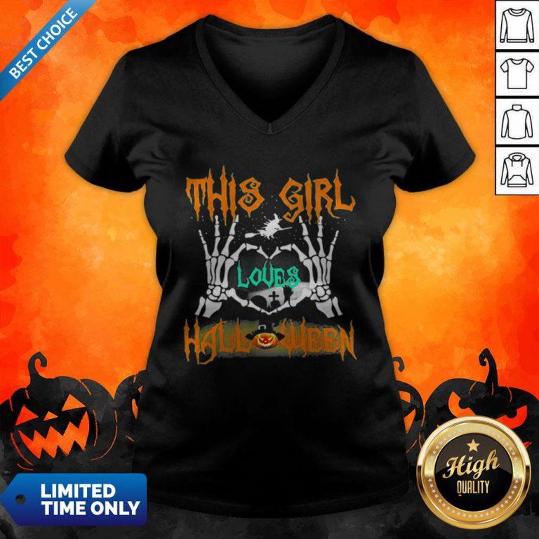 Skeleton This Girl Loves Halloween Heart V-neck