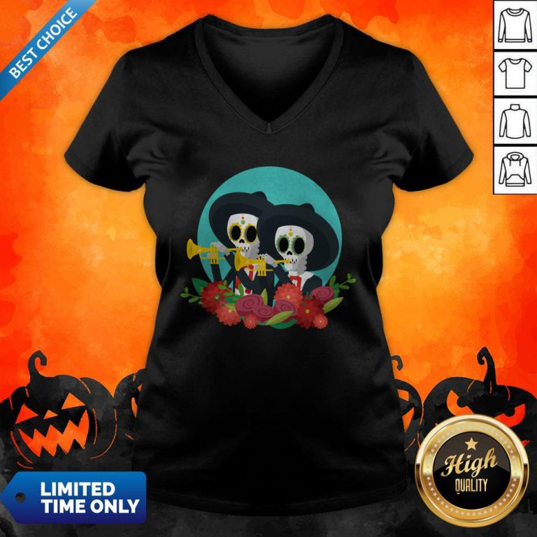 Skeletons Happy Day Of Dead Muertos V-neck