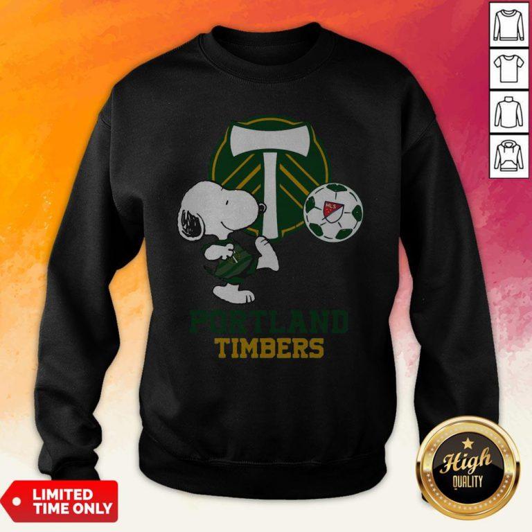 Snoopy Playing Soccer Portland Timbers Sweatshirt