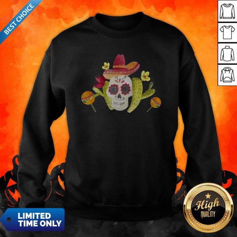 Sugar Skull Day Of The Dead In Mexican Sweatshirt