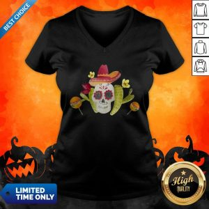 Sugar Skull Day Of The Dead In Mexican V-neck
