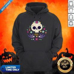 Sugar Skull Flowers Day Of The Dead Dia De Los Mueros Hoodie
